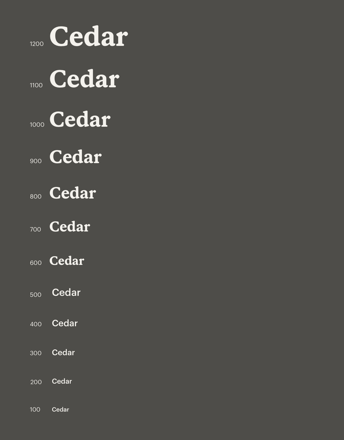 A graphic displaying the range of sizes available for headings