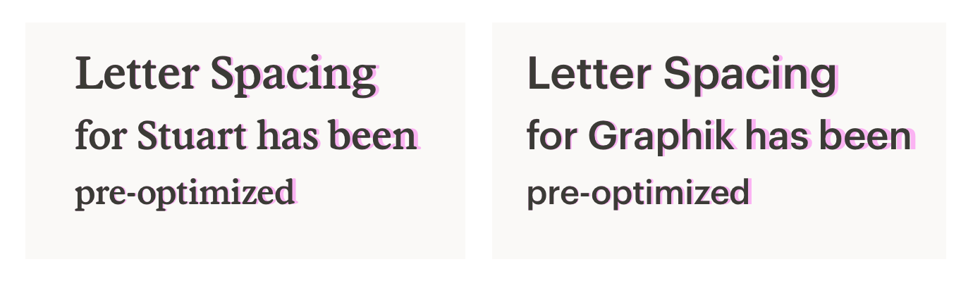 A graphic showing the difference between default and pre-optimized letter spacing